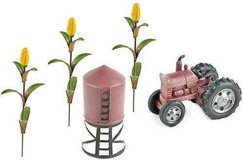 DIY Fairy Garden Kit with Tractor, Grain Bin, and Corn Stalks