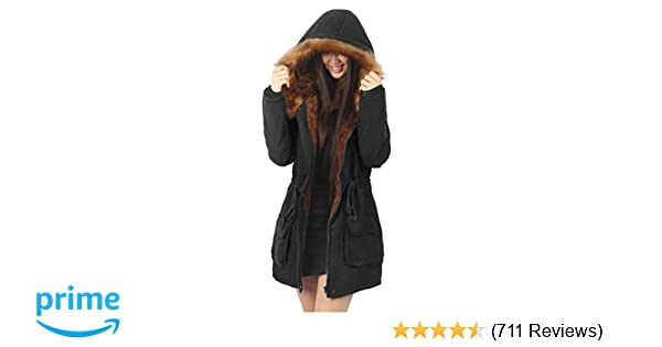 70c33982aa8 iLoveSIA Womens Hooded Warm Coats Parkas with Faux Fur Jackets