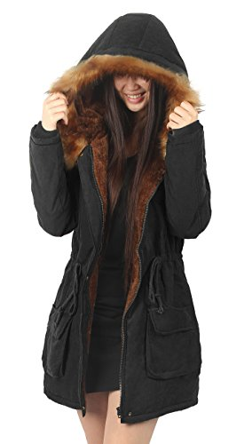 iLoveSIA Womens Hooded Coat Faux Fur Lined Jacket Black (Drawstring Hooded Long Jacket)