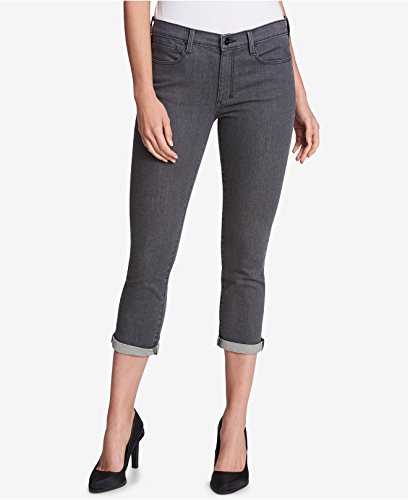 DKNY Womens Mid-Rise Cropped Jeans Gray 26