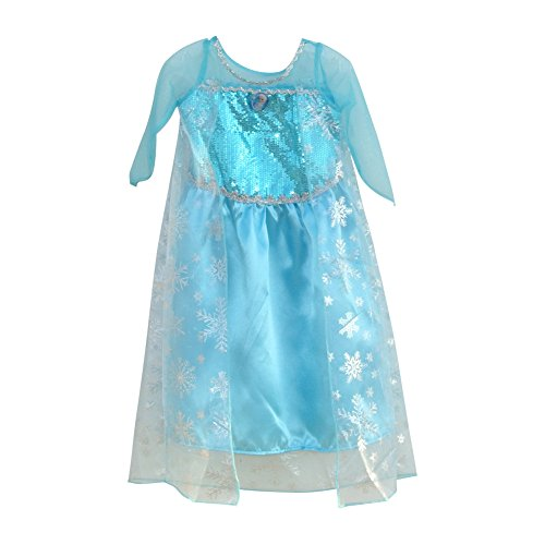 Toddler Girls Frozen Snowflake Princess Party Halloween Costume with Elsa Pin (Snow Princess Halloween Makeup)
