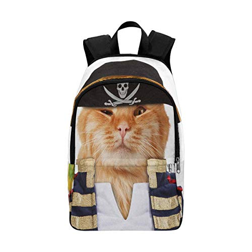 InterestPrint Funny Cat Dressing in Caribbean Pirate Costume College Bookbag Shoulder Daypack for $<!--$29.99-->