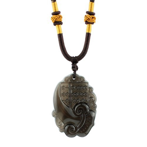 O-stone Abacus of Dreams Come True Ice Obsidian Pendant Necklace Grounding Stone Protection Amulet