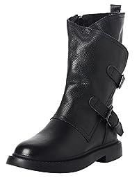 Zoulee Women's New Handmade Leather Boots Belt Buckle Zipper Mid-calf Boots Martin Boots