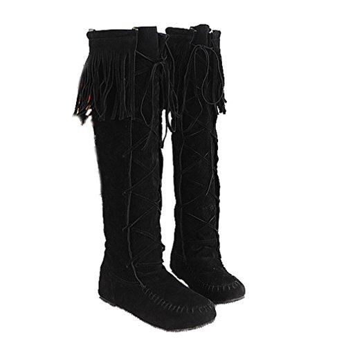Womens Lace Up Tassel Knee High Flats Black Boots - 7