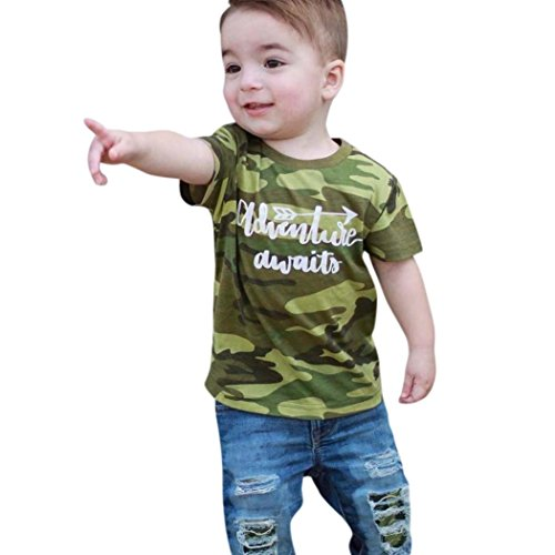 Moonker Toddler Baby Boy Kid Outfits Clothes Camouflage Letter Tops T-Shirt and Denim Hole Pants Set 1-5T (12-18 Months, Camouflage) from Moonker