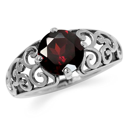 Silvershake 1.97ct. Natural Garnet 925 Sterling Silver Filigree Swirl & Spiral Ring Size 7 ()