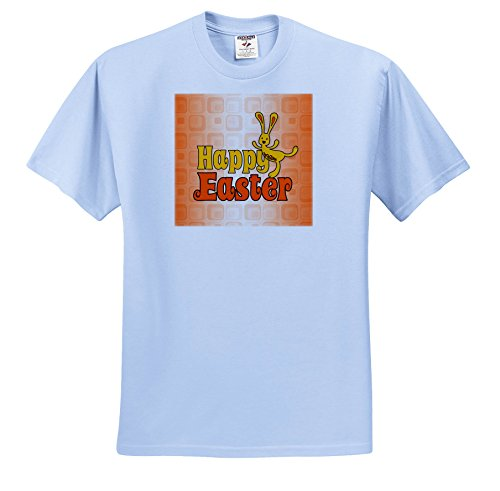 - Doreen Erhardt Easter Collection - Bold and Fun Dancing Yellow Easter Bunny on Orange - T-Shirts - Adult Light-Blue-T-Shirt Large (ts_283498_52)