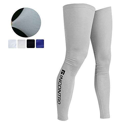 Sun protective UV resistang Compressiong Cooler Cooling Sleeves leg warmer for outdoor sports golf cycling (Grey)