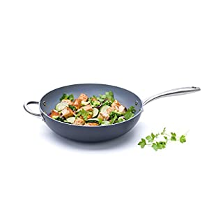"GreenPan Lima 12.5"" Ceramic Non-Stick Open Wok with Helper Handle"