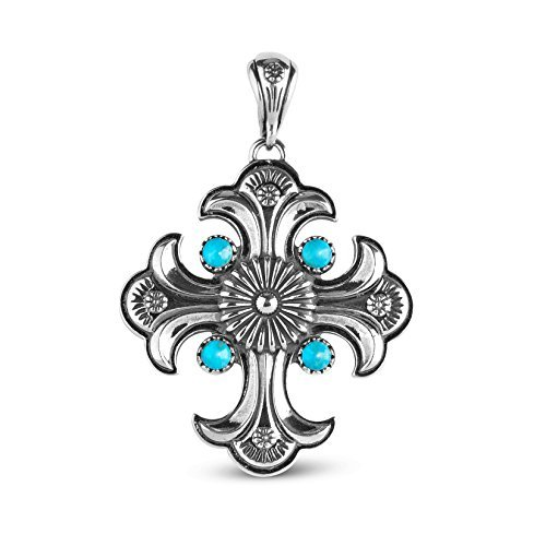 Sterling Silver Turquoise Maltese Cross Pendant Enhancer by Carolyn Pollack