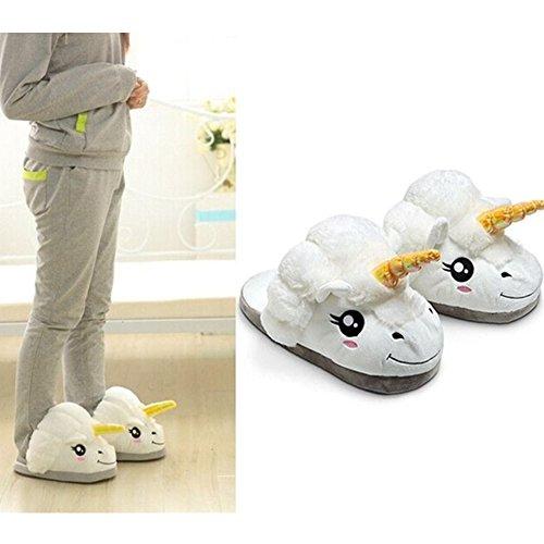 Oliasports Plush Unicorn Slippers White