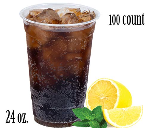 Disposables To Go- Heavy Duty Crystal Clear PET Plastic Cups | Disposable/Reusable | 24 oz - Clear Cups (100 Count)