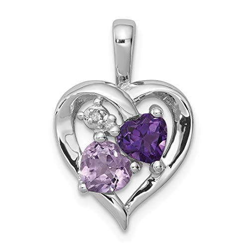 925 Sterling Silver Purple Amethyst Pink Quartz Diamond