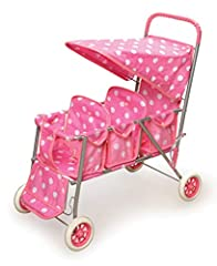 Go strolling. . . strolling. . . strolling with Badger Basket's Folding Triple Doll Stroller! Take THREE favorite dolls or inseparable stuffed animals for a walk together. Large canopy can be flipped up to make it easy for your dolls to get i...