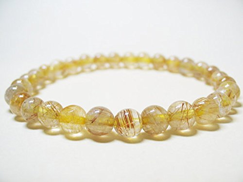 JP_Beads Rutilated Quartz Bracelet Power Bracelet Healing Bracelet Spiritual Bracelet Solar Plexus Chakra Gold Filled Filleden Rutilated Quartz Gemstone Bracelet 6mm ()