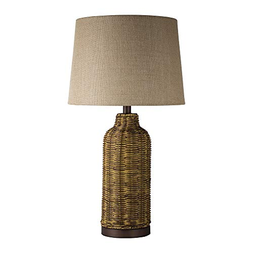 "(American Art Decor Wicker Wood Table Lamp with Fabric Canvas Drum Shade (26""))"