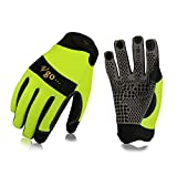 Vgo High Dexterity Synthetic Leather with Silicone for Antislip,Multipurpose Work Gloves(1Pair,Size L,High-Vis Green,SL7895)