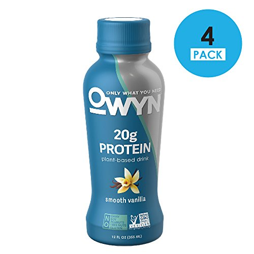 OWYN 100-Percent Vegan Plant-Based Protein Shake, Smooth Vanilla, Ready To Drink, Dairy-Free, Gluten-Free, Soy-Free, Allergy Friendly, Vegetarian, 12 fl. oz. Bottle, 4 Pack