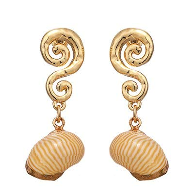Fashion Vintage Shell S925 Pin Geometric Dangle Earring Zinc Alloy Gold Earring for Girl Women Party Personalized Jewelry