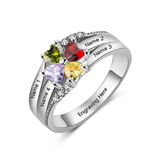 Personalized Mothers Rings with 4 Children Simulated Birthstones Family Rings for Women Promise Rings for Best Friends 4 Mothers Day Ring 4 Simulated Stones (7)
