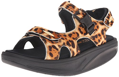 Women's Printed Leather Adjustable 3s Natural Leopard Kisumu Sandal MBT W 1PSPH