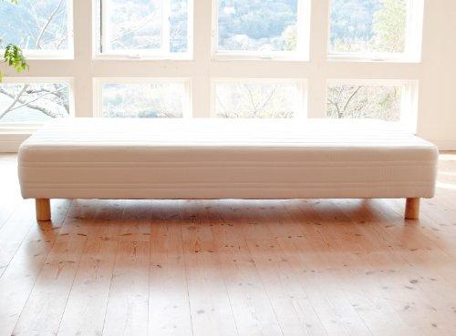 ギシギシしない脚付きマットレスベッド ハイカウント 日本製 セミダブル 生成 (木脚:12cm) B006YL07I4  木脚:12cm