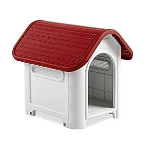 4566 Caseta en forma de casa para perro PROLABZOO con toma de aire 59.2x66x63 cm – Rojo