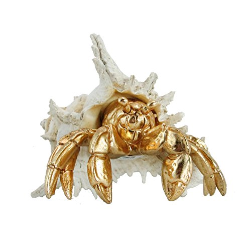 Sea Life Collection Gold Hermit Crab on a White Conch Shell Figurine