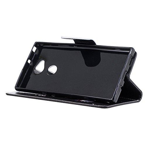 Funda para Sony Xperia XA2 Ultra,Grandcaser Double Layer Protectora Funda Suave PU Leather Cuero Libro Flip Estuche de Silicona Bumper Flexible Cover Carcasa - Árbol Colorido Oso