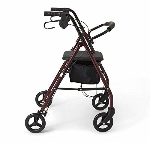 """Medline Steel Foldable Adult Rollator Mobility Walker with 6"""" Wheels, Burgundy by Medline (Image #3)"""