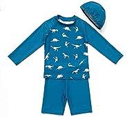 BONVERANO Boys Sunsuit UPF 50+ Sun Protection 3/4 Sleeve Swimwear Sets with Sun hat