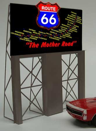 5061 Model Route 66 Neon Lighted Roadside Billboard by Miller Signs by Miller Engineering