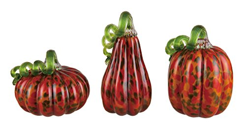 Fall Dots with Green Curly Stem Pumpkins 6 x 4.5 Glass Harvest Figurine Set of - Glasses Curly