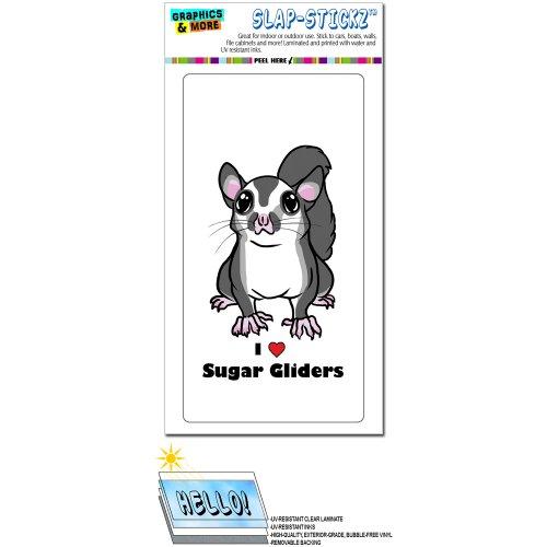 - Graphics and More Sugar Glider I Love Heart - Pet Animal Cute On White Slap-STICKZ(TM) Automotive Car Window Locker Bumper Sticker