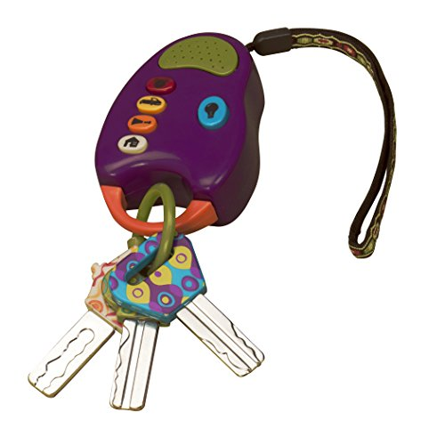 B. toys  FunKeys Toy  Funky Toy Keys for Toddlers and Babies  Toy Car Keys on a Keychain with Light and Sounds 100% Non-Toxic and BPA-Free