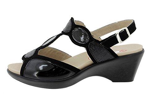 180863 Donna Plantare Piesanto Sandali Comfort Scarpe Scamosciato Estradibile Nero wtRxFqz