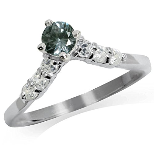Simulated Color Change Alexandrite & White CZ 925 Sterling Silver V-Shape Ring Size -