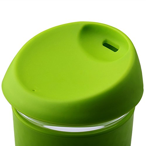 ARCCI Mochic 16Oz Borosilicate Glass Mug Reusable Coffee Cup with Lid and Sleeve (16 Oz, Green ...