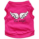 FTXJ Pet Puppy Angel Vest T-Shirt Clothes for Small Dog Girls Boys Spring and Summer Vest Clothing Puppy Costume Apparel for Chihuahua/Yorkie/Keji/Bago (S, Hot Pink (Vest))