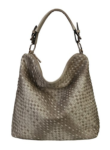 Diophy Fashion Woven Hobo Hand Bag (Khaki)