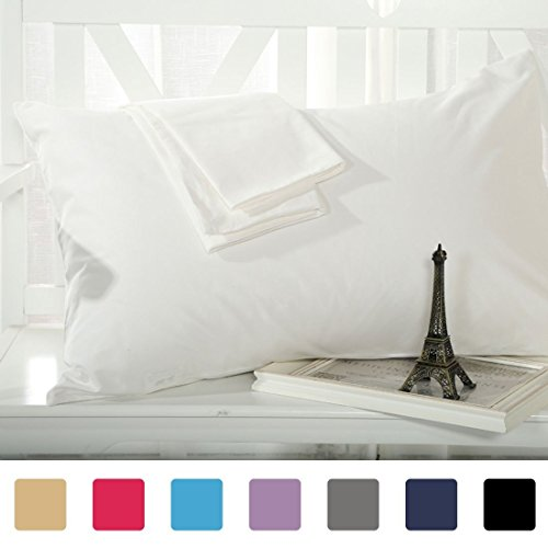 Soft Linens Pillow Case Pair 400 Thread Count 100% Egyptian Cotton Solid Queen (22 x 36) White