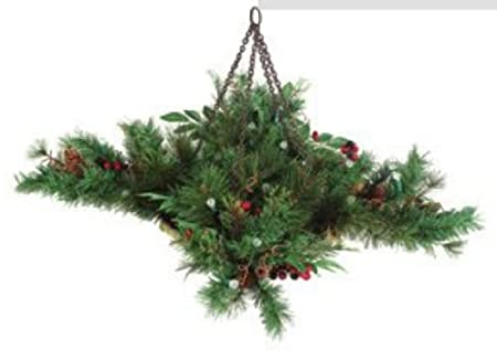 christmas hanging basket with lights for indoor or outdoor - Christmas Hanging Baskets