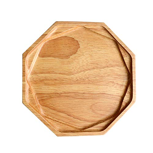 Serving Platter Wooden platter for Food Steak Pastry Fruit dessert nuts, Octagonal Wooden tray for home, restaurant, hotel, indoor and outdoors,1pc ()