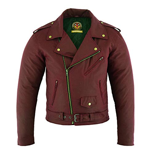 (Motorbike Jackets for Men Biker Cafe Racer Waxed Cotton Lining Brass Eyelets YKK Zips with Studs and Buckles (RED, XL))