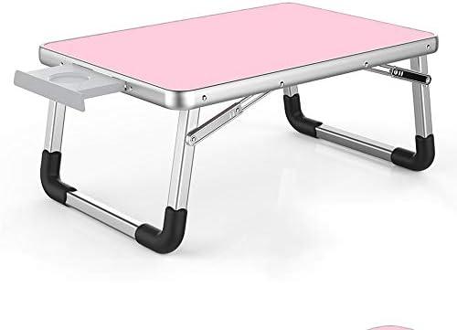 折りたたみテーブル ホームスクールオフィスに適し折り畳み式の脚をベッドトレイのためのラップトップテーブル折りたたみ可能なパソコンデスクポータブル表 ノートパソコンデスク折りたたみ式 (Color : Pink, Size : 70x50cm)