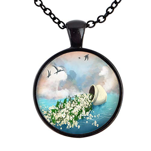 (FOREVER 20 Fallen Vase and Seagull Pattern Pendant Necklace Alloy Glass Cabochon Jewelry Necklaces for Girls and Women (Black))