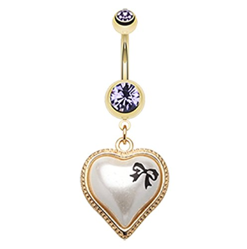 Golden Puffed Pearl Bow-Tie Heart 316L Gold Plated Steel Freedom Fashion Belly Button Ring (Sold Individually) (14GA, 3/8