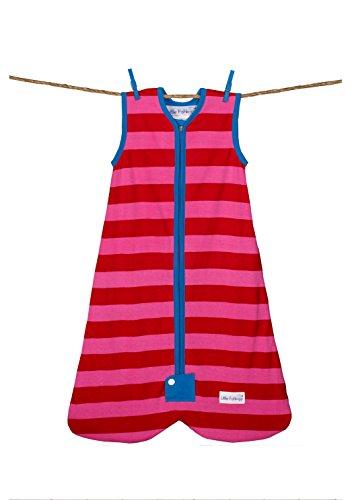 Little Fishkopp Organic Cotton Baby Sleep Bag, Stripes, 1.0 Tog, Red/Pink, Large by Little Fishkopp
