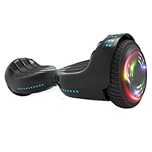 "Hoverboard UL 2272 Certified Flash Wheel 6.5"" Bluetooth Speaker with LED Light Self Balancing Wheel Electric Scooter (Black)"